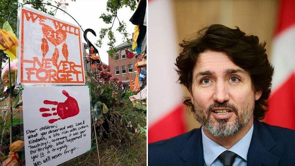 Tvådelag bild.  Till höger Kanadas premiärminister Justin Trudeau  Till vänster: minnesplats i Kamloops, British Columbia, där kvarlevor från 215 barn nyligen hittades vid internatskola.