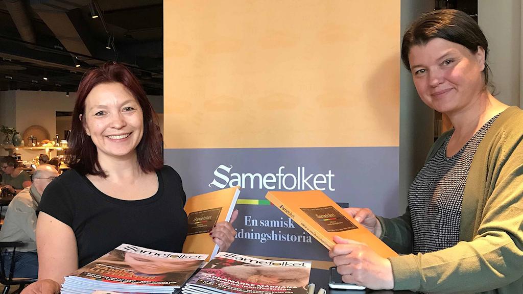 Victoria Harnesk, ordförande i Samefolkets styrelse och Åsa Lindstrand, chefedaktör och ansvarig utgivare för Samefolket.