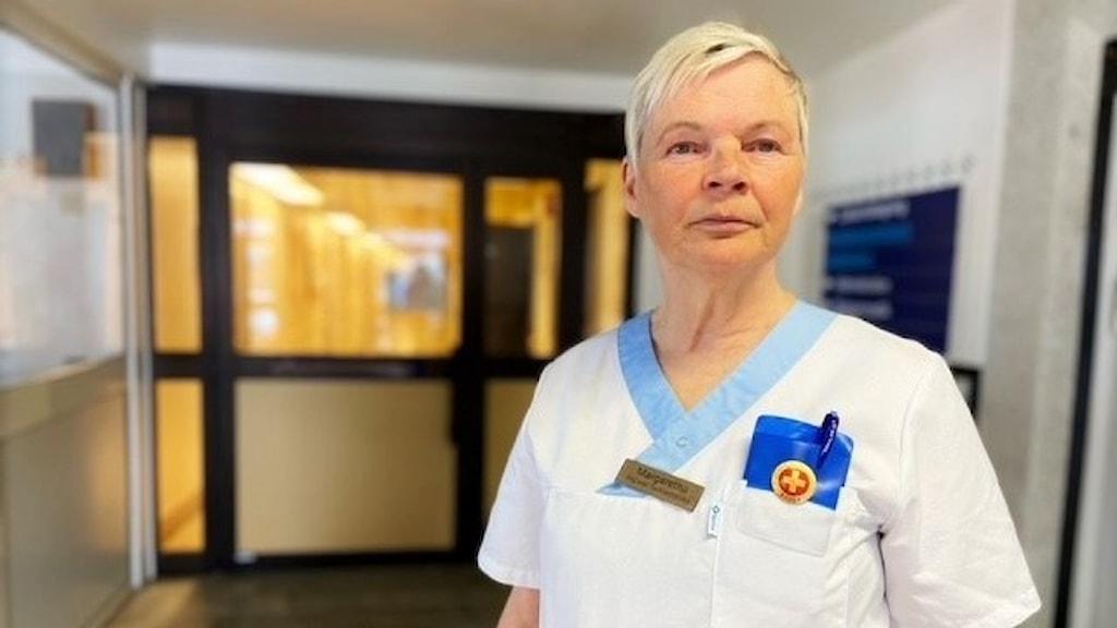Margareta Alainentalo, Pajala, är vallokalsansvarig för Pajalas nya vallokal.