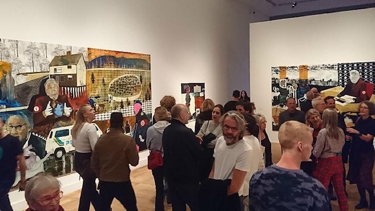 Anders Sunnas målnigar på Moderna museet. Foto: Privat