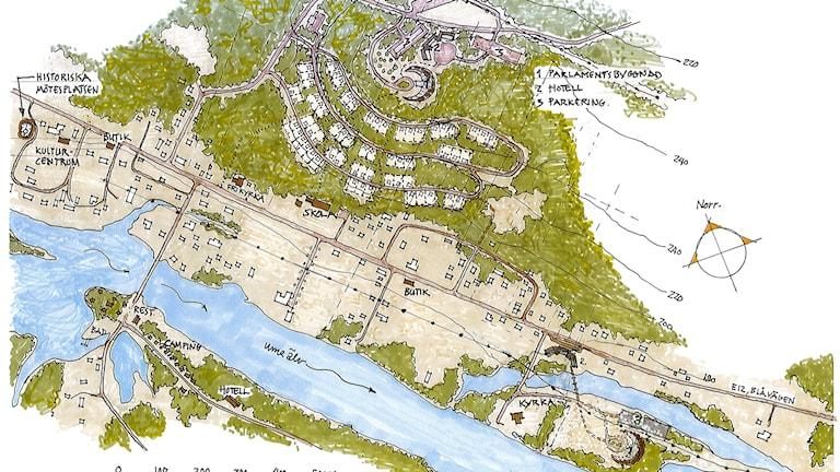Kartskiss över vart parlamentsbyggnaden skulle byggas i Granö.