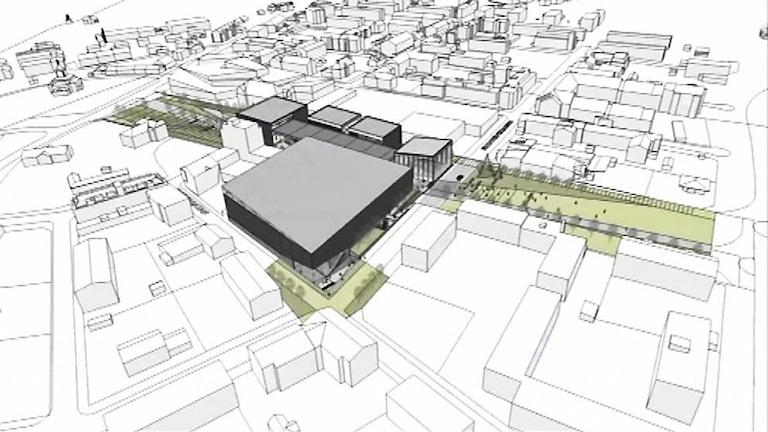 Här är skissen över multiaktivitetshuset som ska byggas i Gällivare.