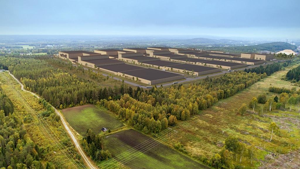 Illustration över Northvolts planerade fabrik.