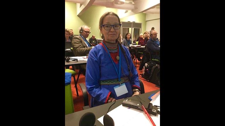 Merke Uttjek föreläste om sin forskning på konferensen i Alta där livssitutionen för funktionsnedsatta samer lyftes. Foto/Liv Inger Somby/pressbild