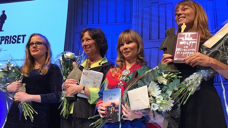 Augustpristagarna 2016, från vänster: Sigrid Nikka, Nina Burton, Ann-Helén Laestadius, Lina Wolff.