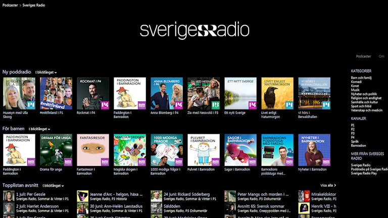 Sveriges Radios sida på iTunes