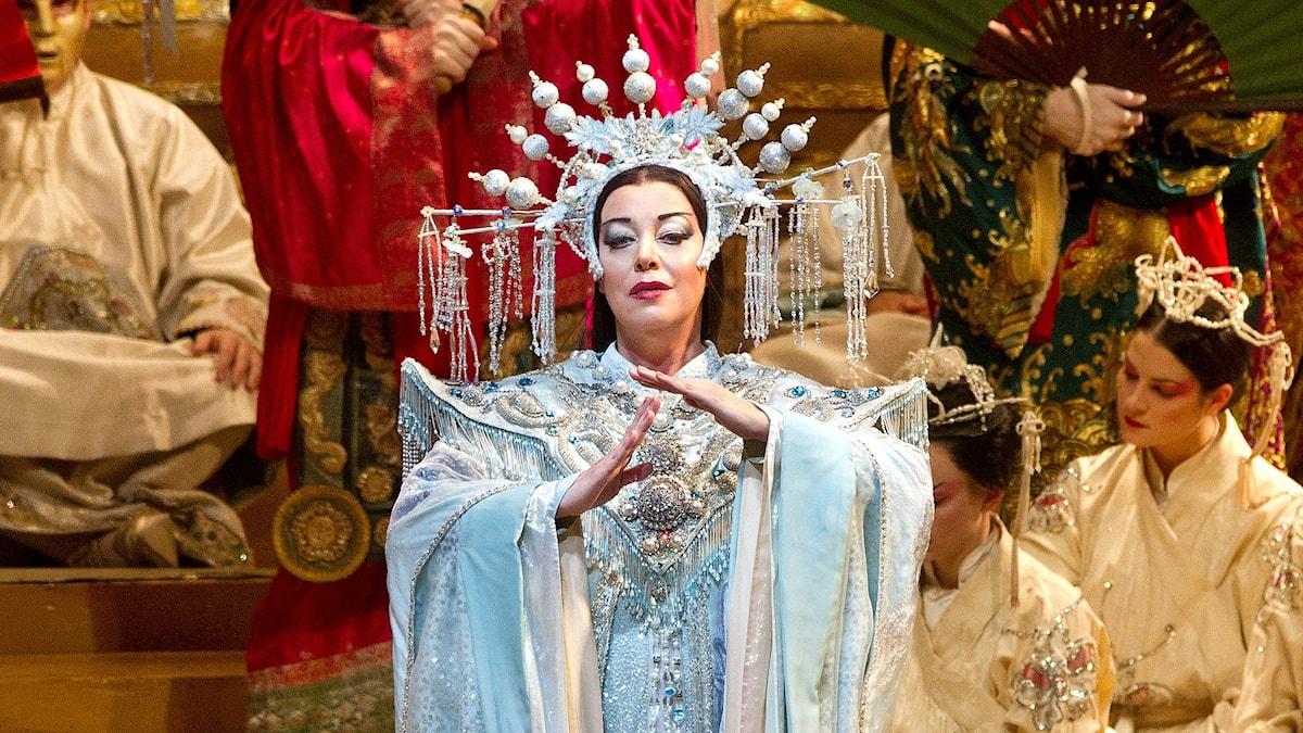 Nina Stemme i rollen som Turandot på Metropolitanoperan. Foto: Marty Sohl/Metropolitan Opera