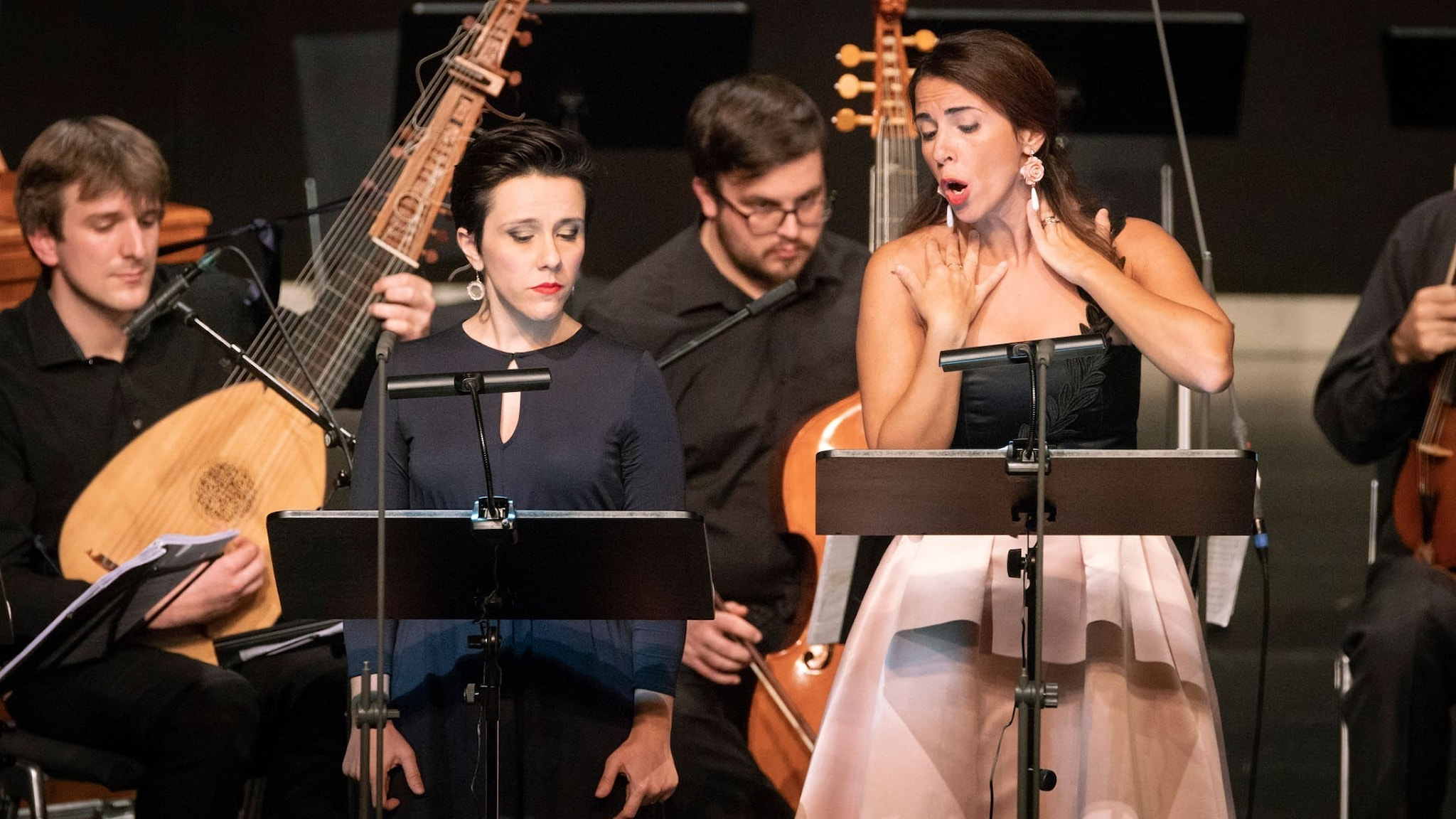 Två av solisterna vid framförandet av Alessandro Stradellas opera.