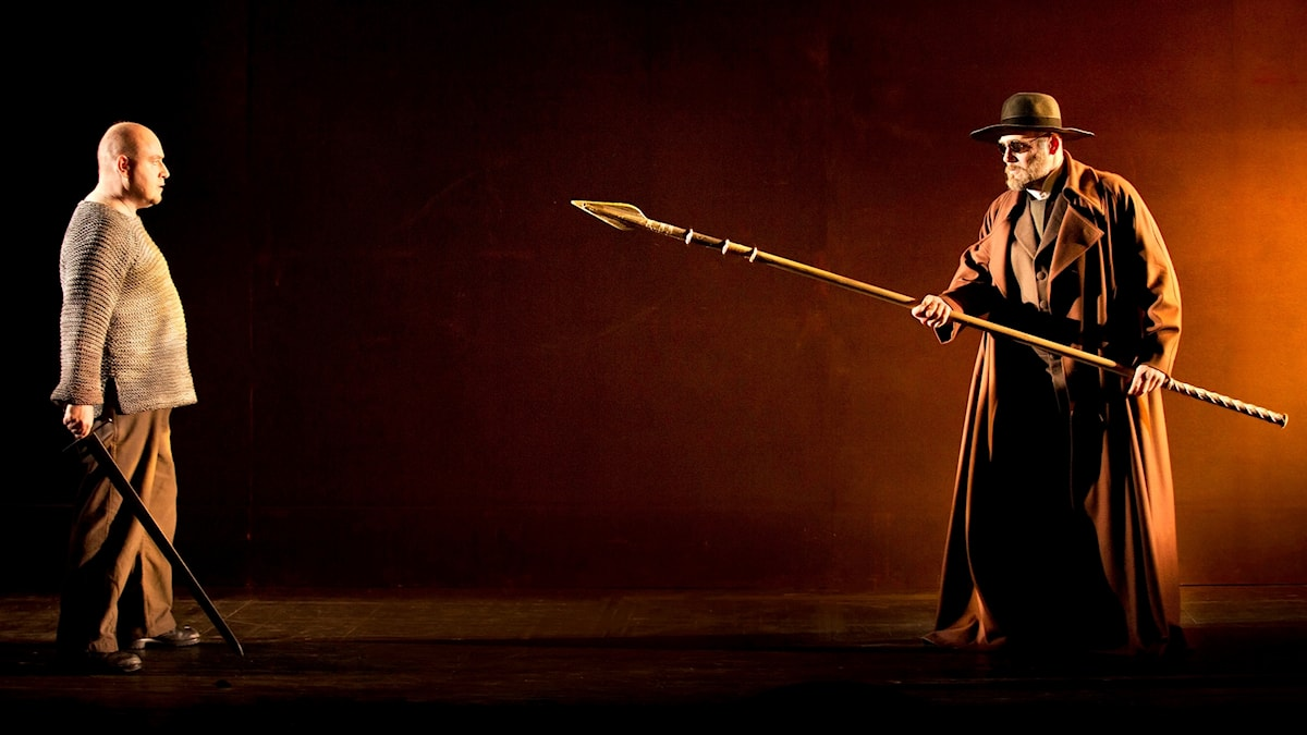 Lars Cleveman som Siegfried och John Lundgren som Vandraren i Siegfried på Kungliga Operan 2017.