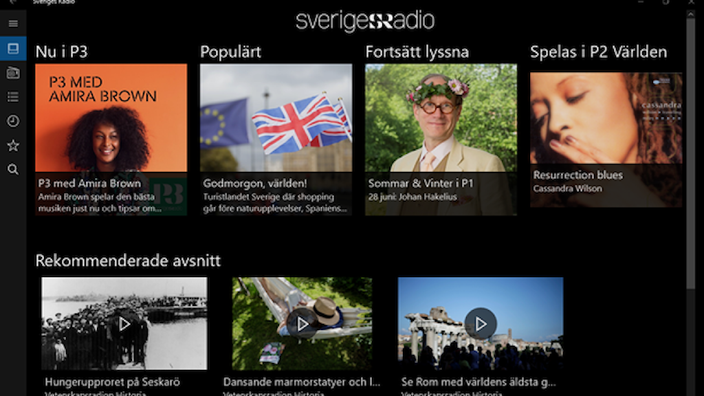 Sveriges Radio som Microsoft Universal Windows  app