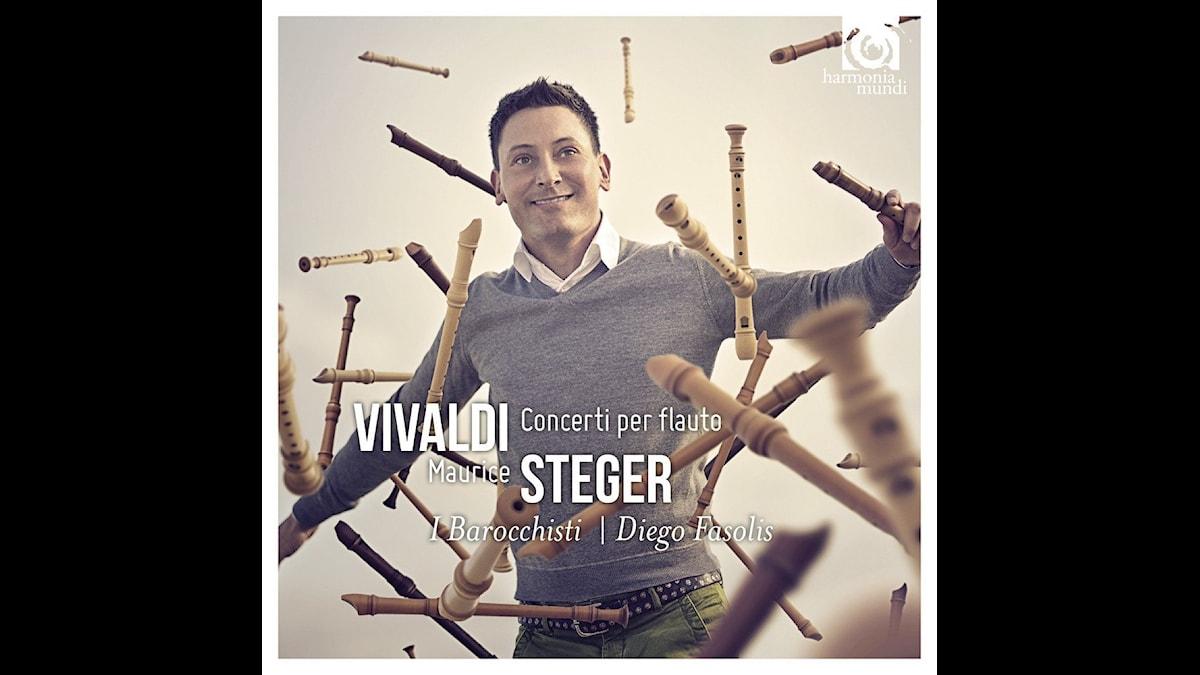 CD-omslag till Maurice Steger framför flöjtkonserter av Vivaldi.