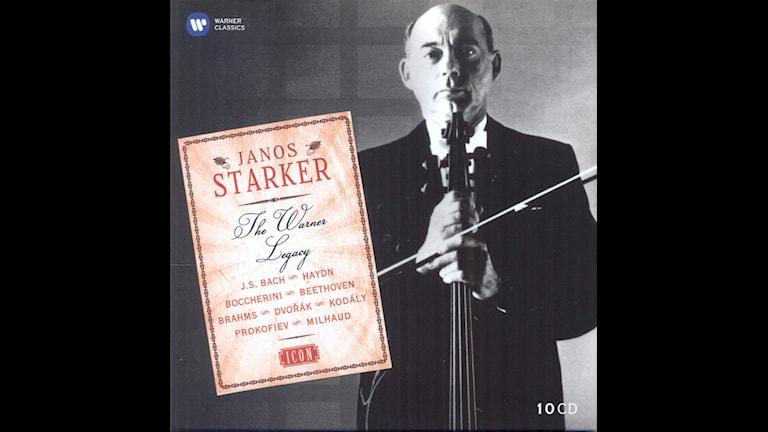 CD-omslag till Janos Starker framför cellokonserter av Saint-Saëns och Bach.