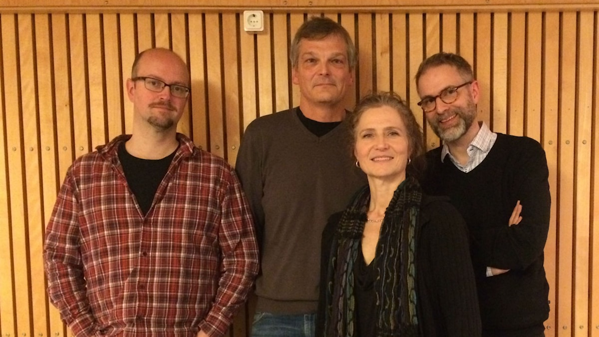 Veckans panel: Fr v David Björkman, Lennart Rundqvist, publiknätverkare, Boel Adler och programledaren Johan Korssell