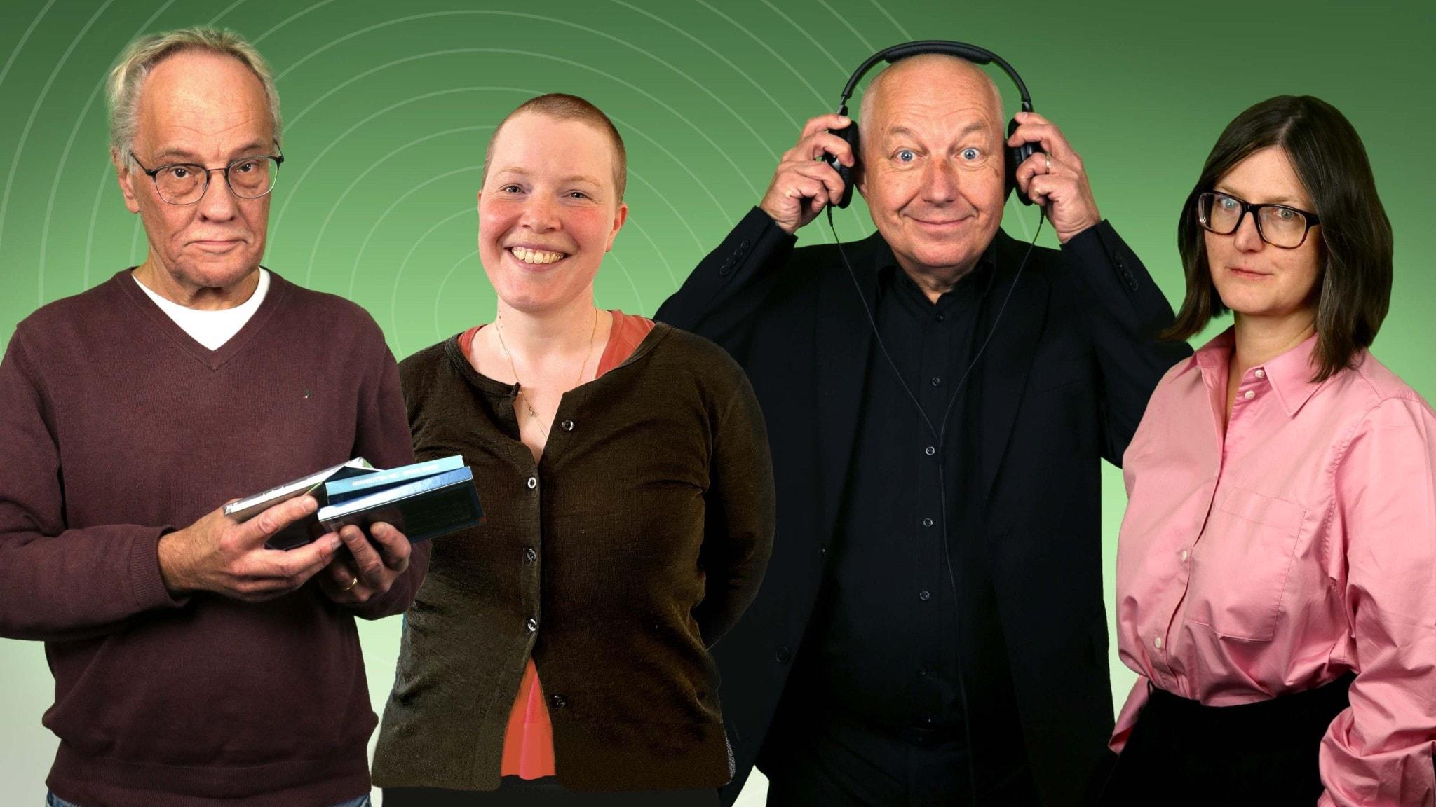 Bild: Musikrevyn i P2 vecka 38 består av panelisterna Per Lindqvist, Hanna Höglund, Måns Tegnér och programledare Sara Norling.
