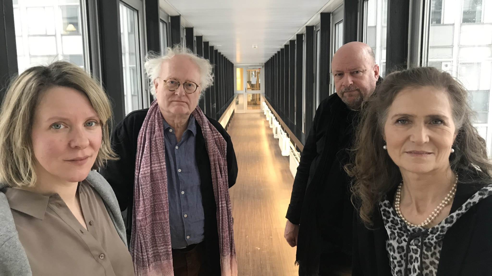 Musikjournalisten Edith Söderström, pianisten Bengt Forsberg, vikarierande programledare Magnus Lindman och P2:s Boel Adler.