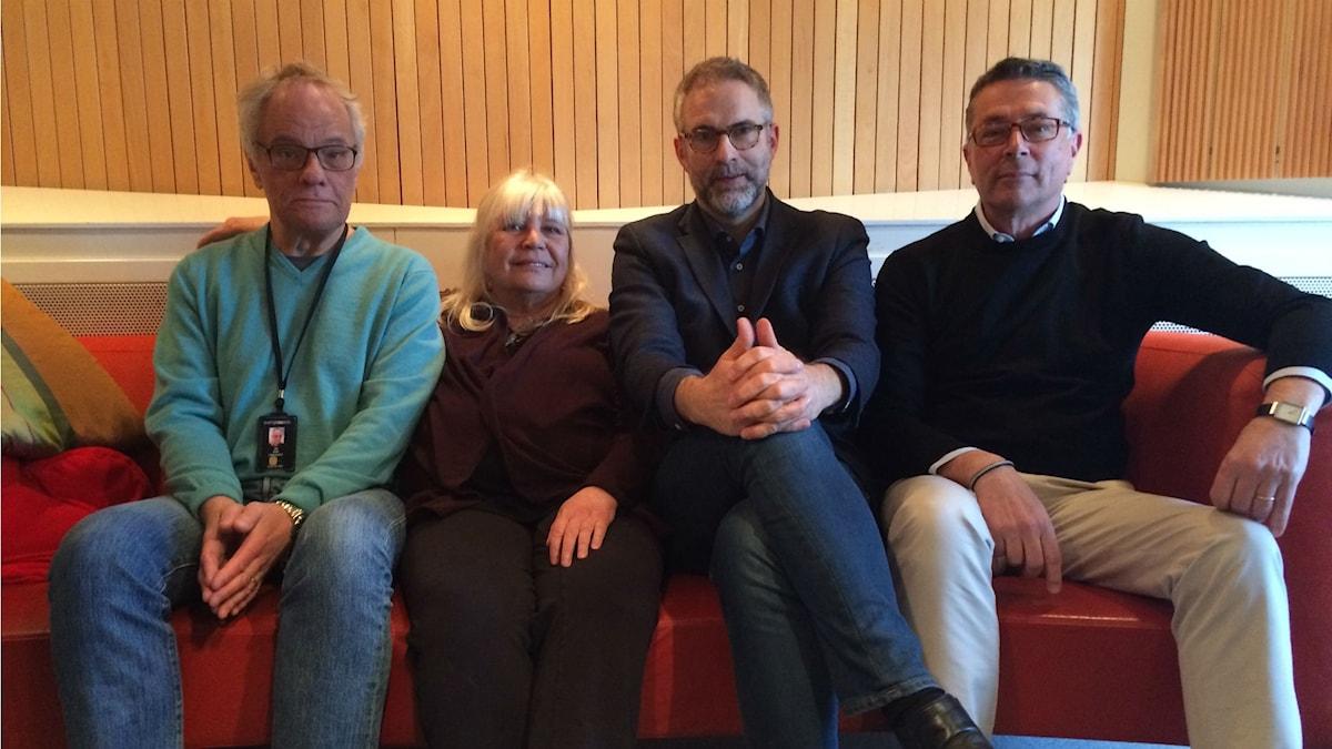 Panelen fr.v: Per Lindqvist, Bodil Asketorp, programledaren samt Hanns Rodell.