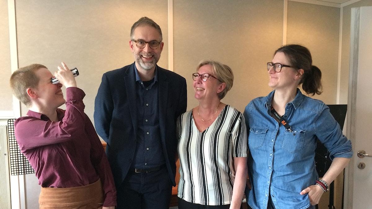 Panelen fr.v: Hanna Höglund, programledaren, Tithi Hahn och Sara Norling