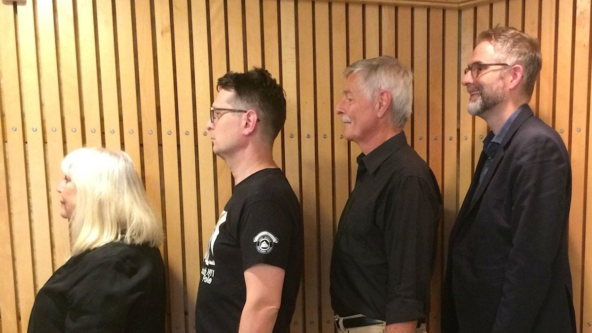 Panelen fr.v: Bodil Asketorp, Alexander Freudenthal, Niklas Lindblad samt programledaren