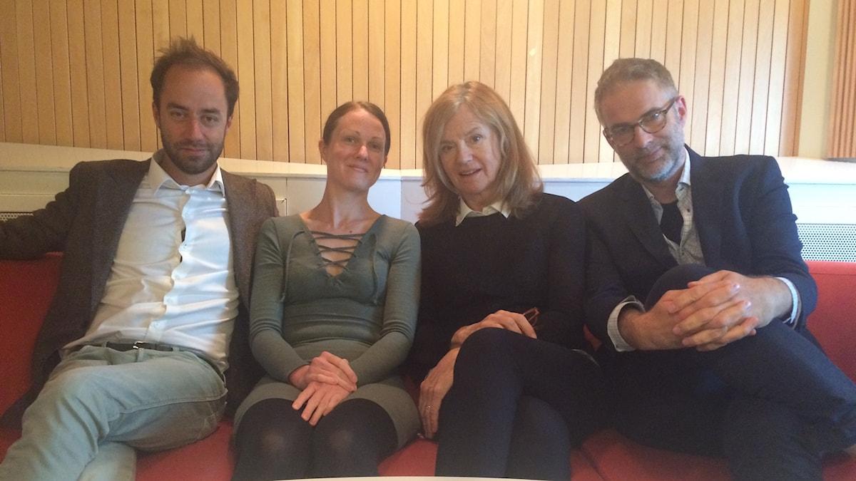 I panelen f.v: Edward Klingspor, Johanna Paulsson, Camilla Lundberg och programledaren.