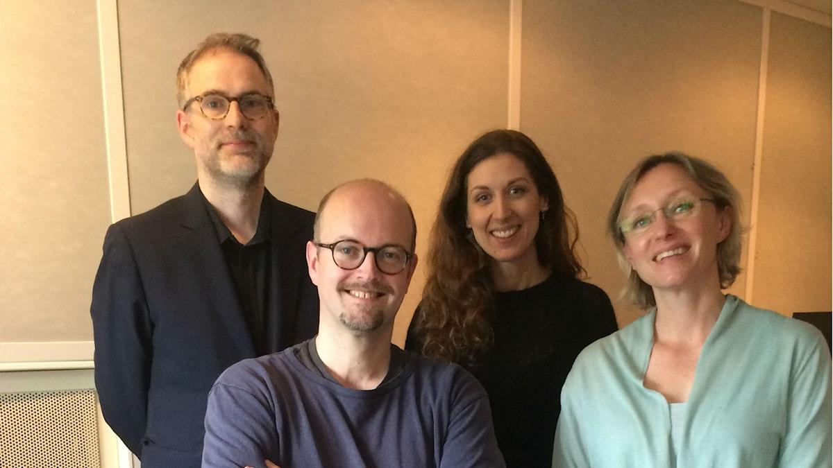 Panelen fr v:  programledaren, David Björkman, Sofie Almroth och Kati Raitinen