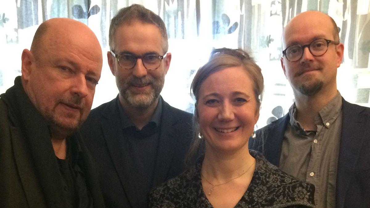 Panelen fr. v: Magnus Lindman, programledaren, Ditte Hammar och David Björkman.