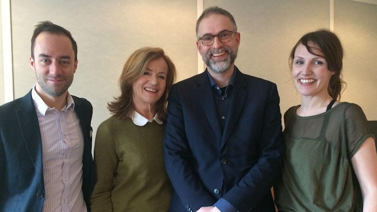 Panelen fr.v: Edward Klingspor, Camilla Lundberg, programledaren och Ella Petersson.