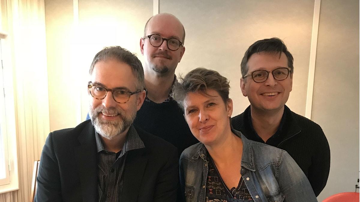 Panelen fr.v. programledaren, David Björkman, Sofia Nyblom och Alexander Freudenthal.