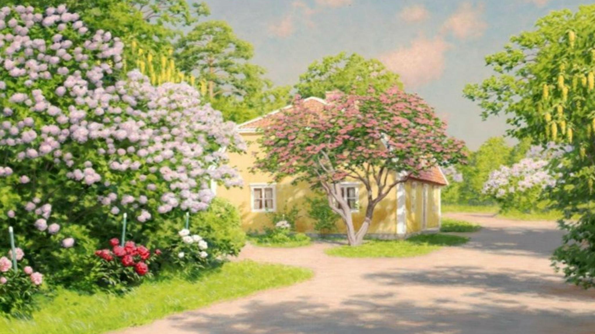 Blommande vårträdgård. Johan Krouthén (ca. 1900)