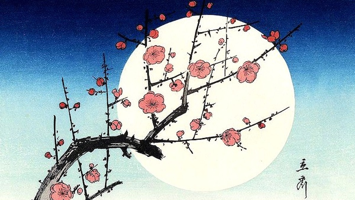 Red Plum Blossom in the Moonlight. Ando Hiroshige (1797-1858).