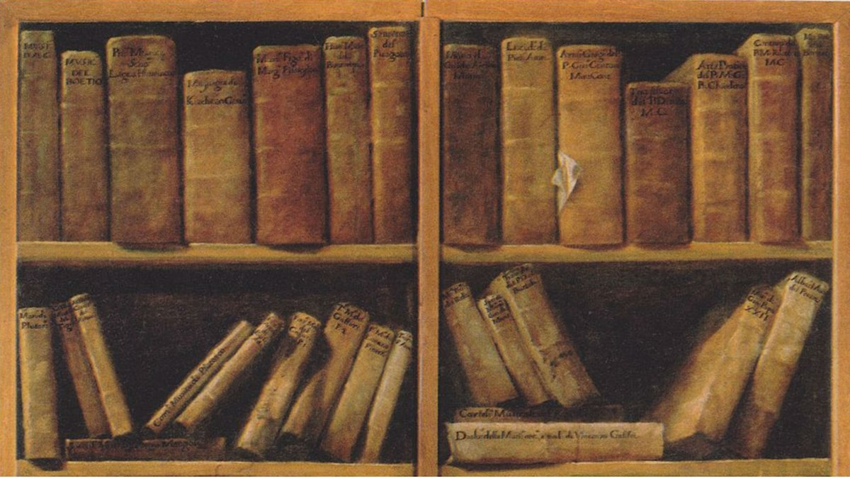 Book shelf with music writings. Giuseppe Maria Crespi (1730)
