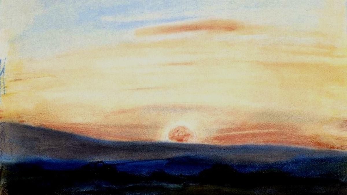 Solnedgång målad av Eugene Delacroix 1849.