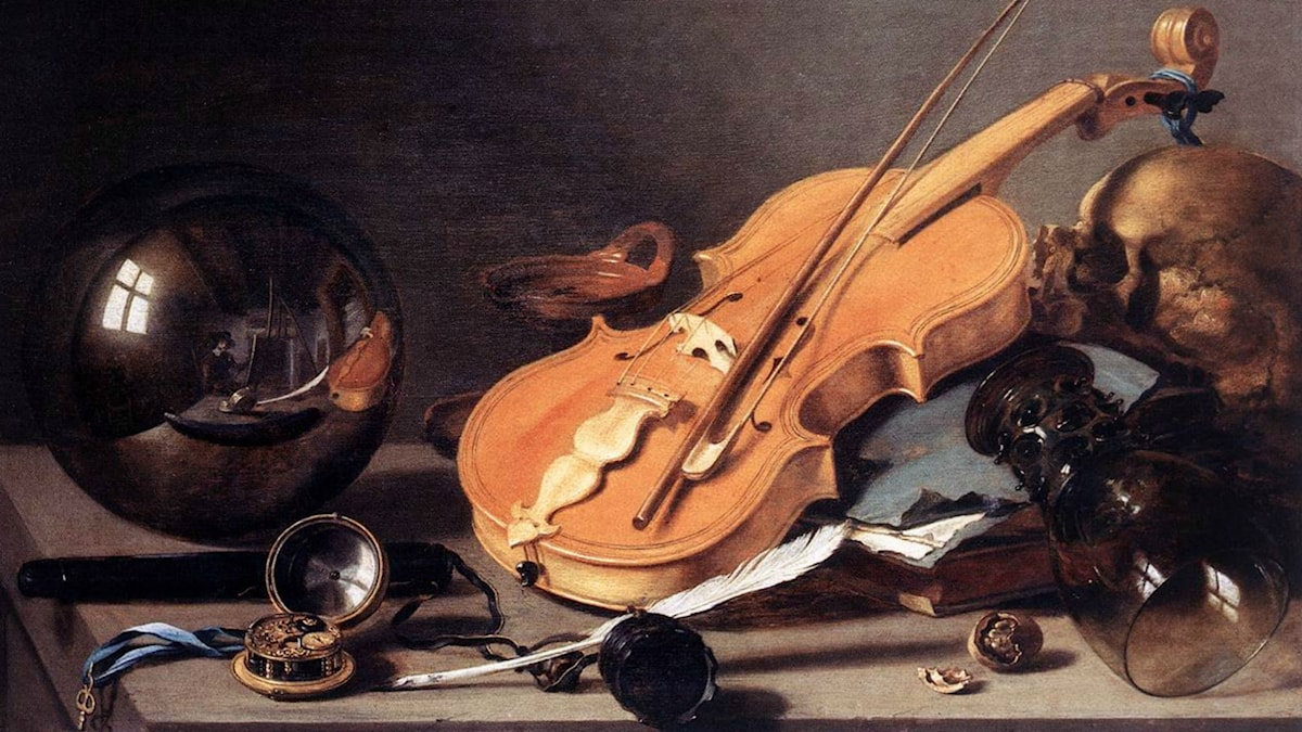 Still Life with Violin and Glass Ball (1628). Pieter Claesz