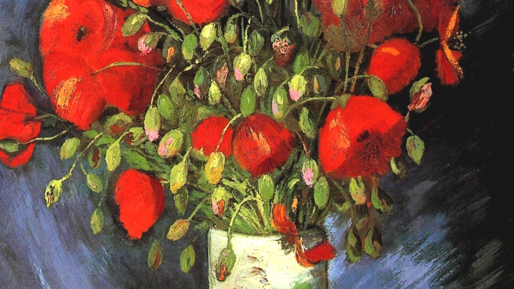 Vas med röd vallmo. Vincent van Gogh-1886.