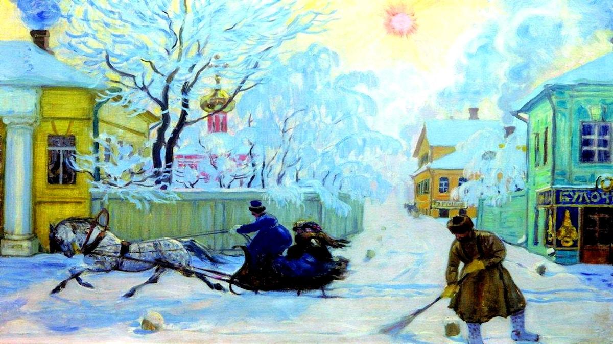 Rimfrostmorgon. Boris Kustodiev, 1913