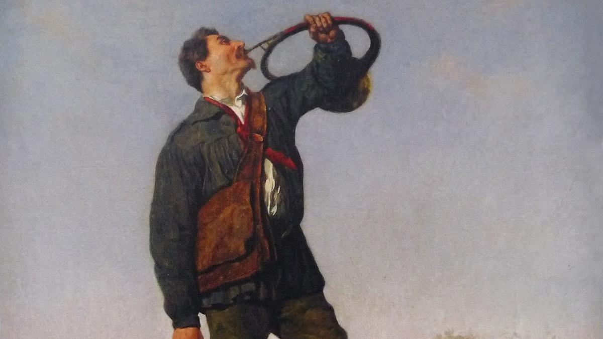 Louis Frédéric Schutzenberger Chasseur sonnant du cor