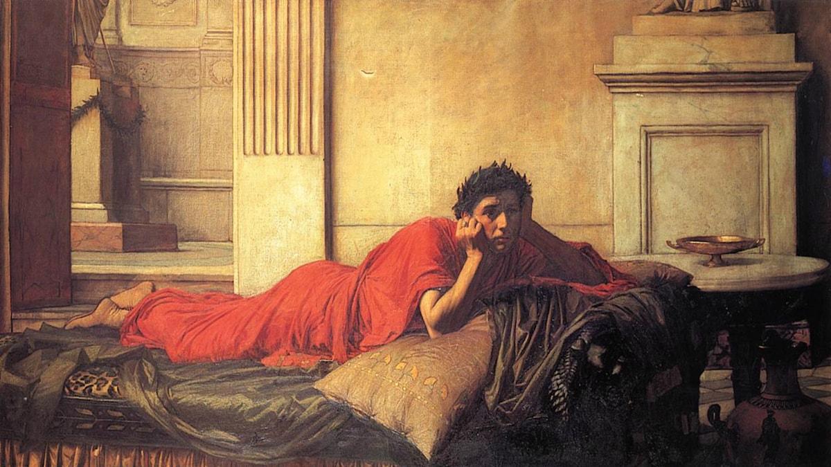 'Kejsar Neros samvetskval efter mordet på hans mamma'. John William Waterhouse (1878).