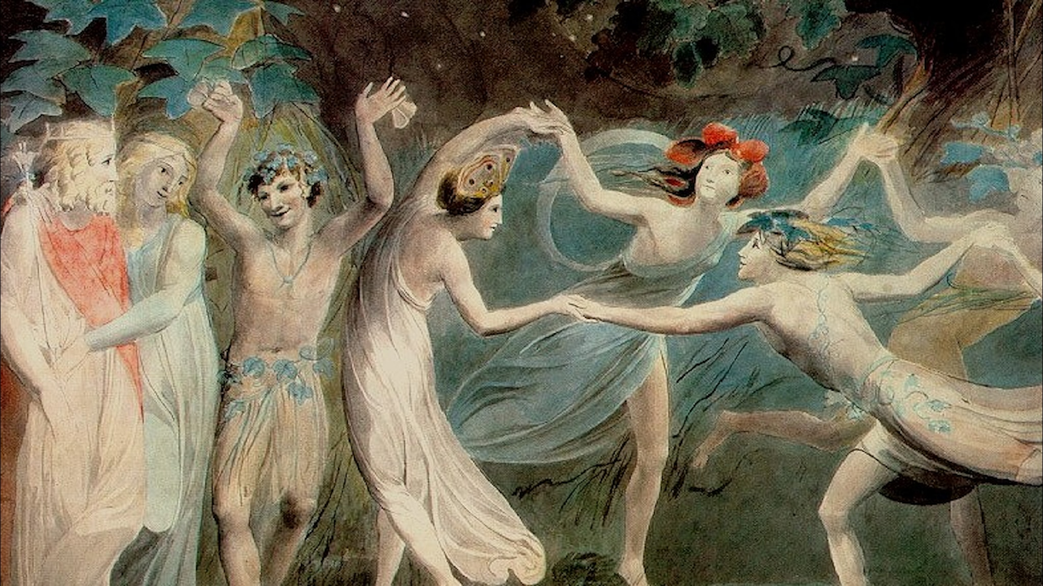 Oberon, Titania och Puck dansar med älvor. William Blake-1786