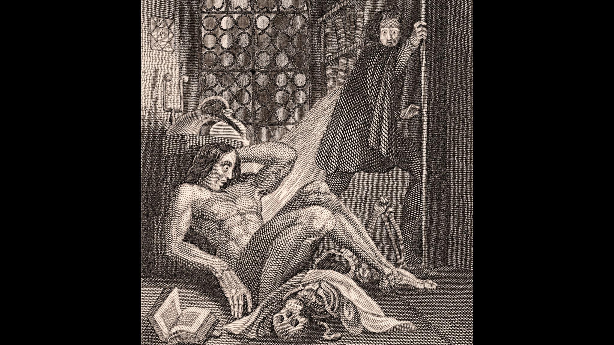 Titelsidan till Frankenstein av Theodor von Holst, en av de första illustrationerna till romanen (1831).