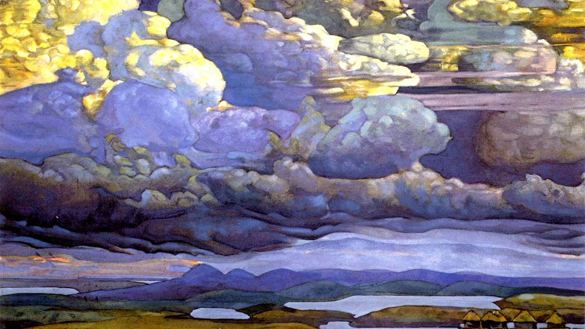 Battle in the Heavens. Nicholas Roerich, 1912.