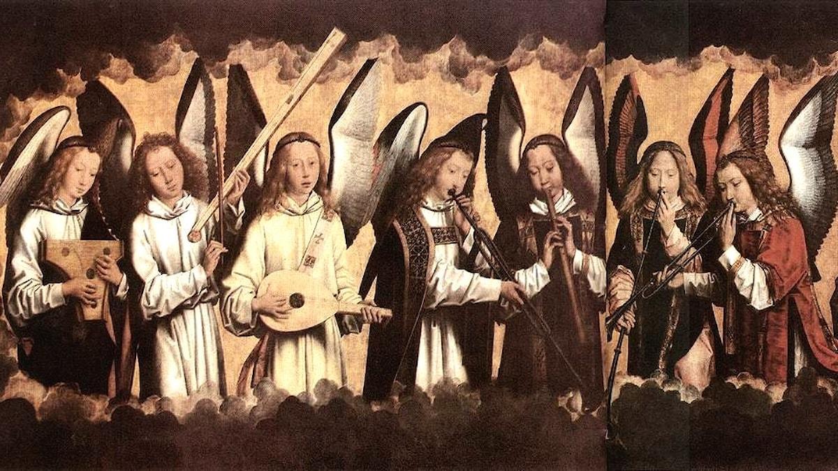 Änglar spelar instrument. Hans Memling-1487 - 1490