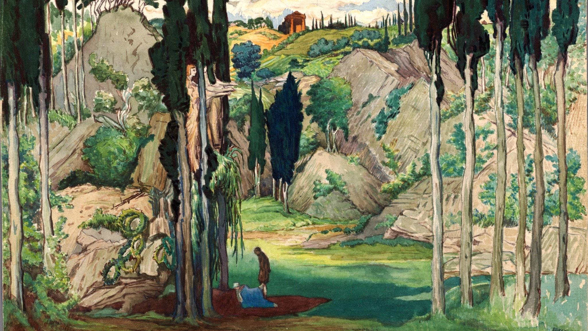 Dafnis och Chloe: Scenografi (Akt 1) av Leon Bakst. 1912.