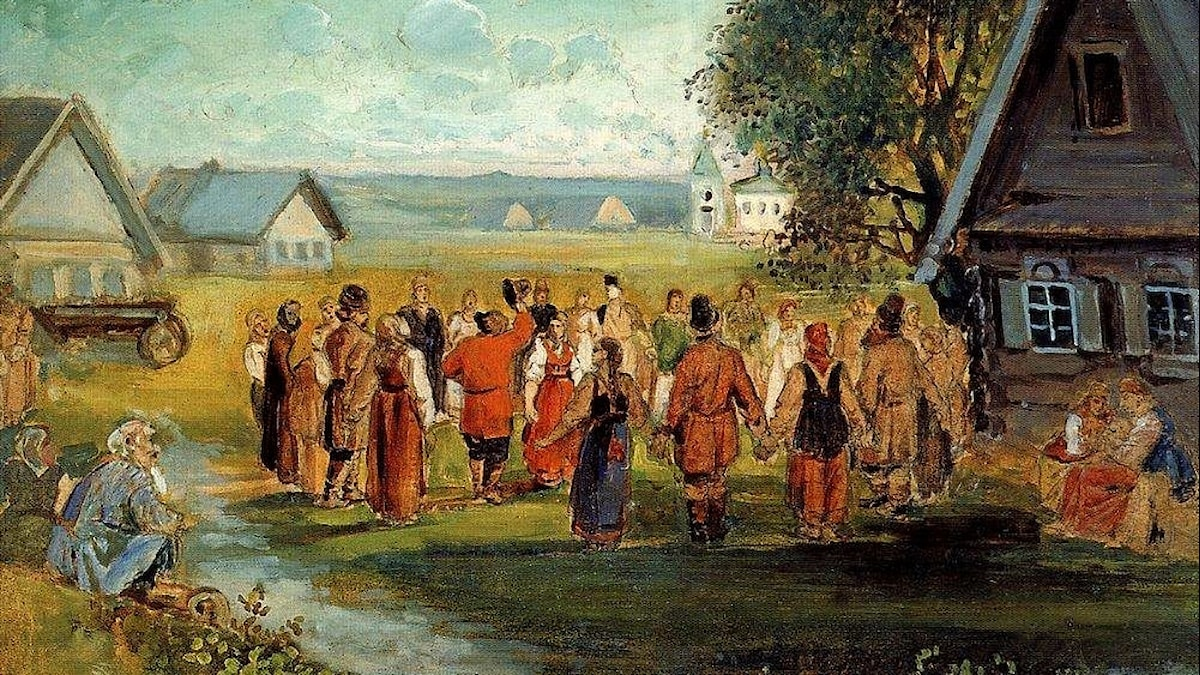 Alekseij Savrasov: Ringdans i byn (1874)