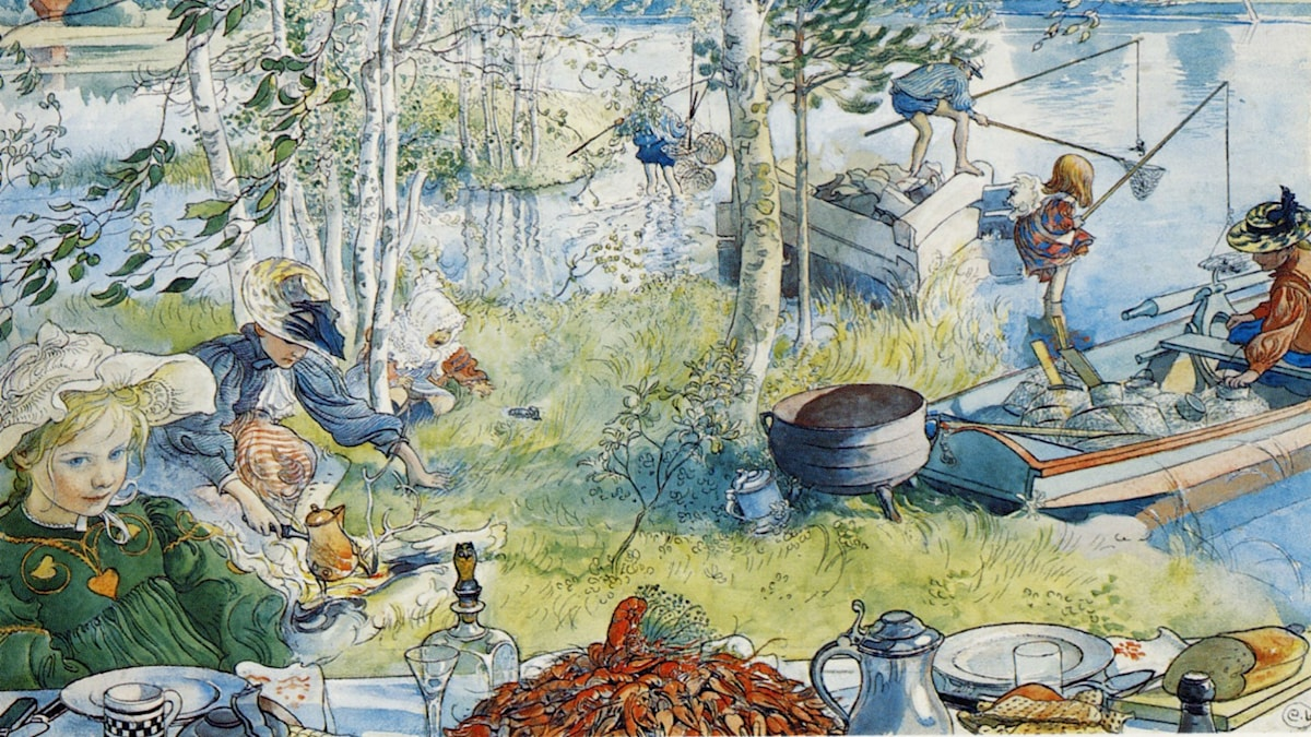 Krabbfiske med familjen. Carl Larsson (1897)