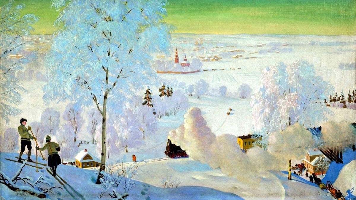 'Skidåkare'. Boris Kustodiev, 1919