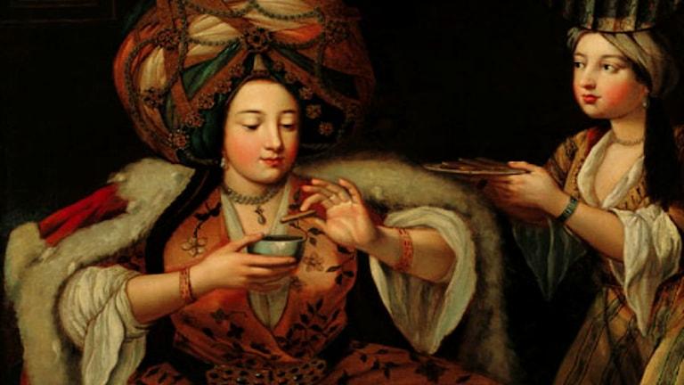 'Enjoying Coffee'. Okänd konstnär, 1700-talets första hälft. Pera-museet Istanbul.