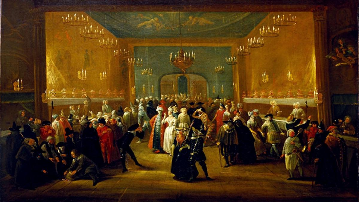 'Maskerad på King's Theatre, Haymarket'. Tillskrivs: Giuseppe Grisoni (1699–1769)