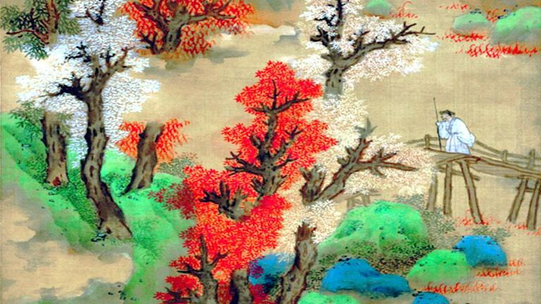 'Vita moln och röda träd' (detalj). Lan Ying (1585-1664)