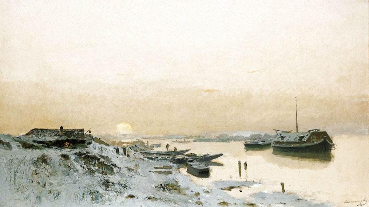 'Soluppgång över snötäckt flodstrand'. Laszlo Mednyanszky (1852-1919)