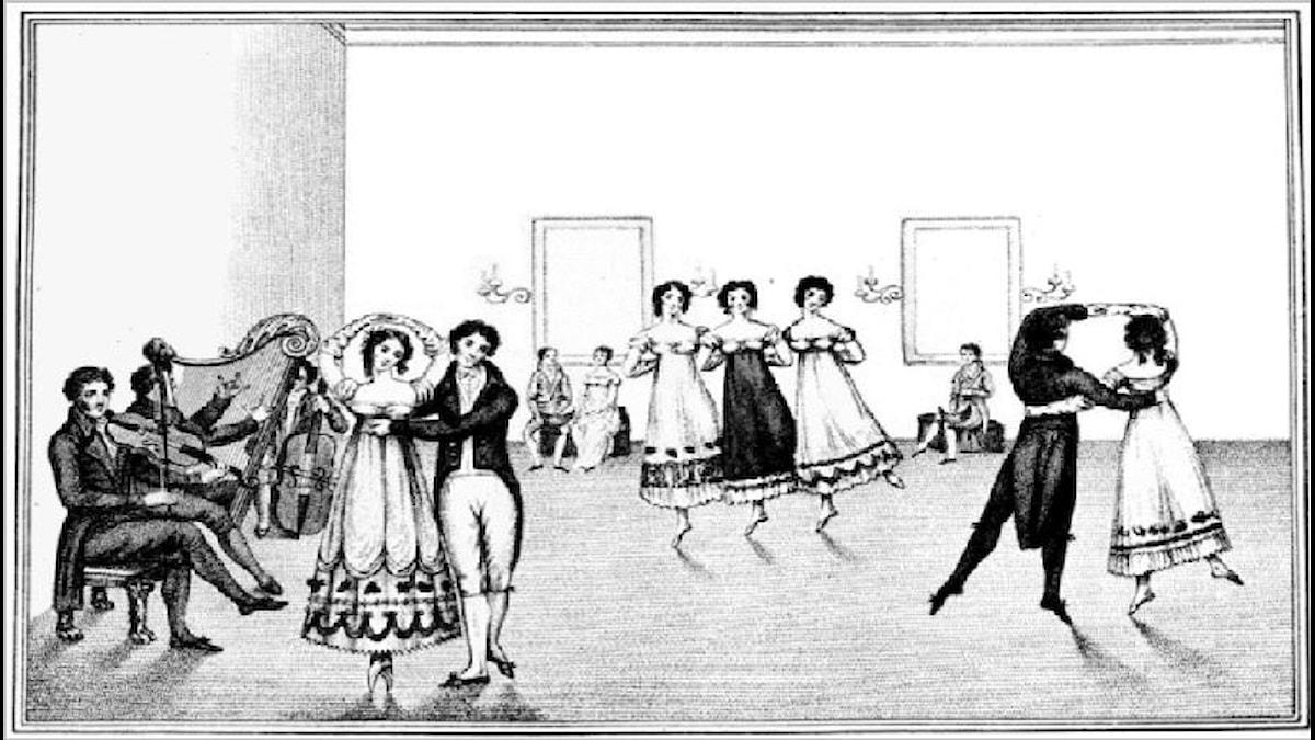 Walz från La Belle Assemblée. Okänd konstnär, 1817.
