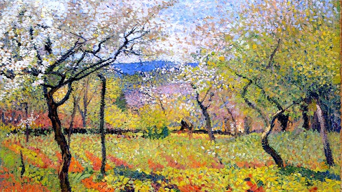 'Blommande trädgård om våren'. Henri Martin, 1920
